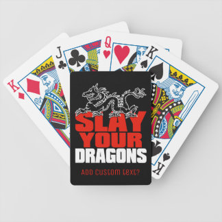 SLAY YOUR DRAGONS, gift for Jordan Peterson fans Bicycle Playing Cards