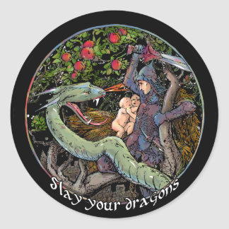 Slay your dragons, Gift for Jordan Peterson fans. Classic Round Sticker