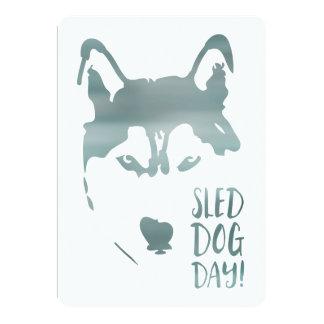 sled dog day 13 cm x 18 cm invitation card