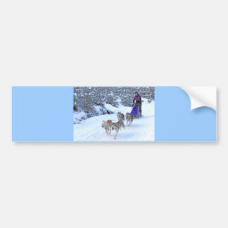 Sled Dog Racing Bumper Sticker