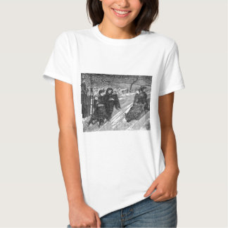 Sled Race Victorian Family Christmas Scene T-shirts
