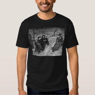 Sled Race Victorian Family Christmas Toboggan T Shirts