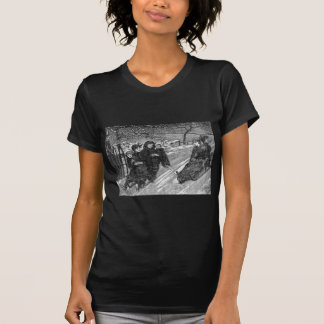 Sled Race Vintage Victorian Christmas Family Scene Tees