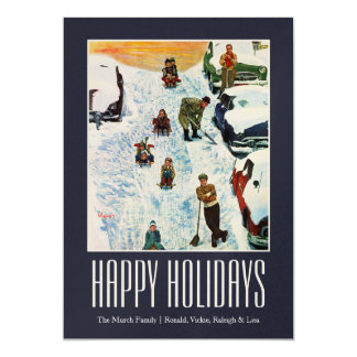 Sledding and Digging Out 13 Cm X 18 Cm Invitation Card