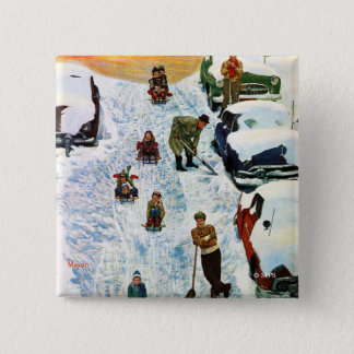 Sledding and Digging Out 15 Cm Square Badge