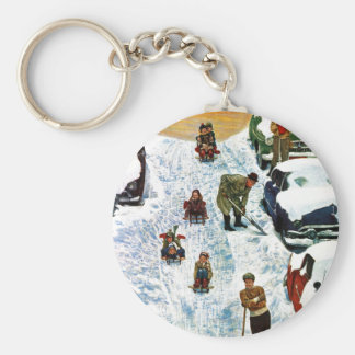 Sledding and Digging Out Basic Round Button Key Ring