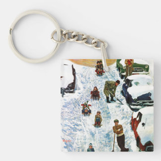 Sledding and Digging Out Double-Sided Square Acrylic Key Ring