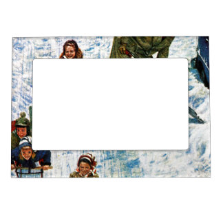 Sledding and Digging Out Photo Frame Magnet