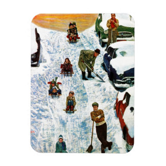 Sledding and Digging Out Rectangular Photo Magnet
