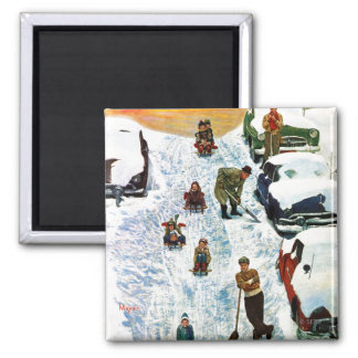 Sledding and Digging Out Square Magnet