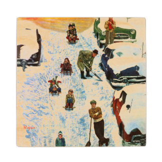 Sledding and Digging Out Wood Coaster