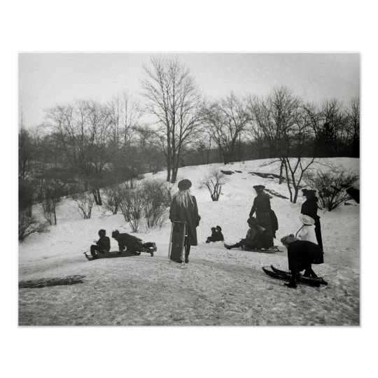 Sledding in Central Park, 1906. Vintage Photo Poster