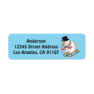Sledding  Snowman Return Address Labels