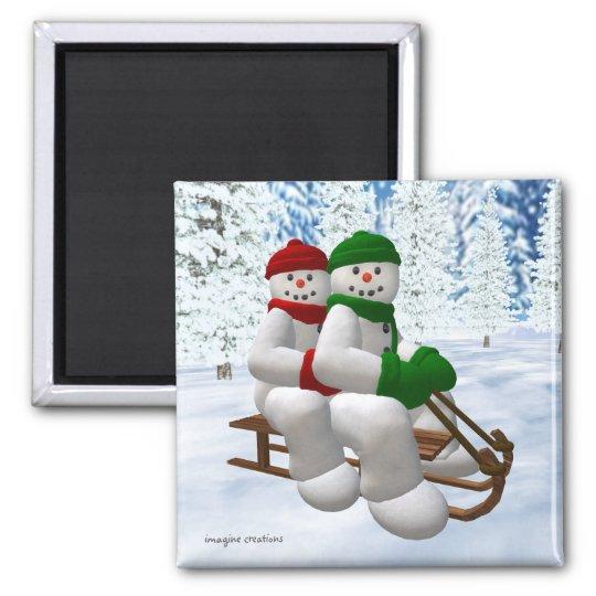 Sledding Vintage Snowmen Square Magnet