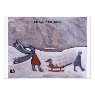 (Sledge in the snow Invitation)