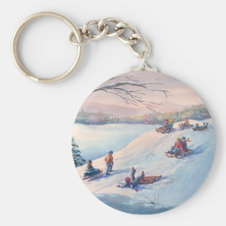 SLEDS, KIDS & SNOW by SHARON SHARPE Basic Round Button Key Ring