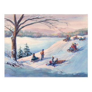 SLEDS, KIDS & SNOW by SHARON SHARPE Postcard
