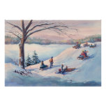 SLEDS, KIDS & SNOW by SHARON SHARPE Poster