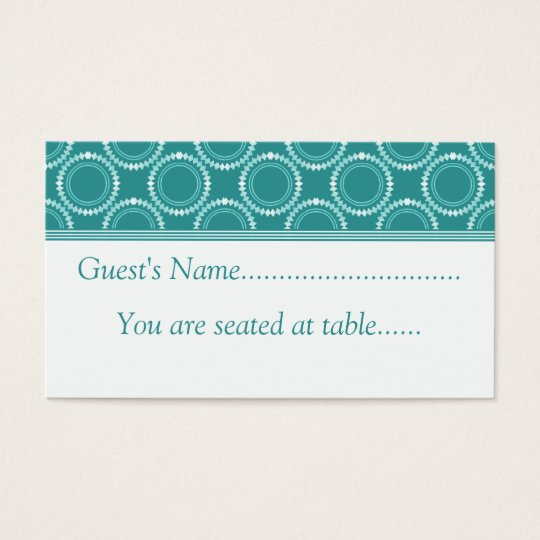 Sleek and Polished Wedding Place Cards, Teal Business Card