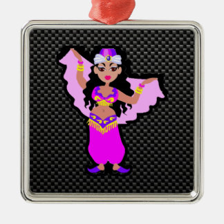 Sleek Belly Dancer Silver-Colored Square Decoration