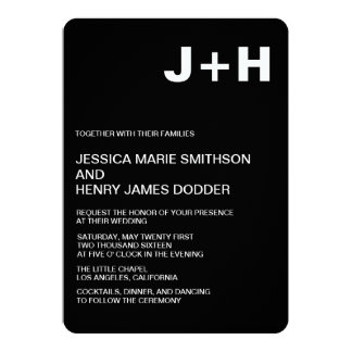 Sleek Black and White 5x7 wedding invitation