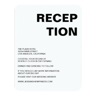 Sleek Black and White Reception Card