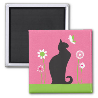 Sleek Black Cat Square Magnet