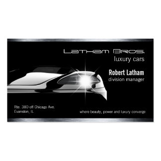 sleek black luxury car business card
