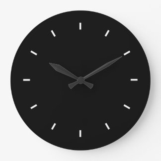 Sleek Black Modern Dark Color Bold Stylish Chic Large Clock