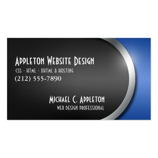 Sleek Blue with Social Networking Buttons Business Card Templates