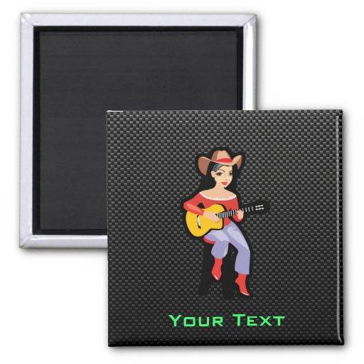 Sleek Cowgirl with Guitar Fridge Magnets