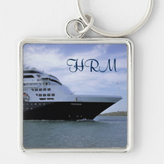 Sleek Cruise Ship Bow Monogrammed Silver-Colored Square Key Ring