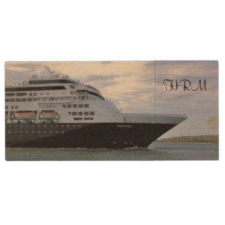 Sleek Cruise Ship Bow Monogrammed Wood USB Flash Drive