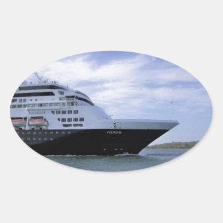 Sleek Cruise Ship Bow Oval Sticker