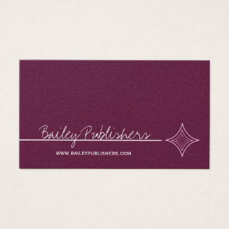 Sleek Diamond Business Card, Eggplant Business Card