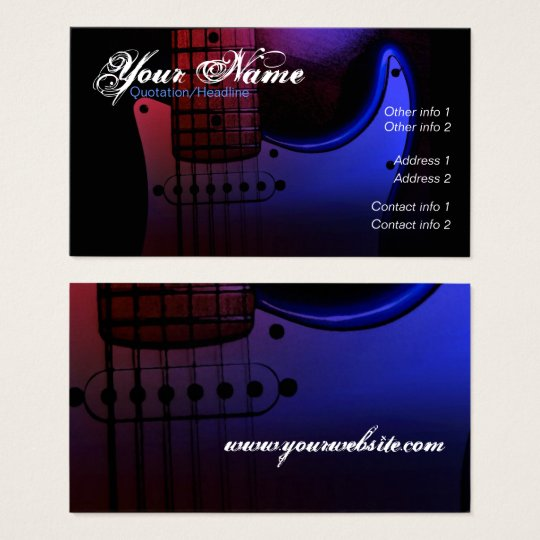 Sleek Electric Guitar Musician Business card