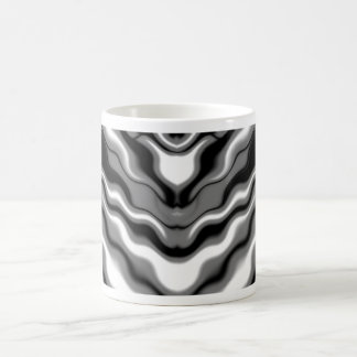 Sleek Elegant Black White Waves Abstract Art Coffee Mug