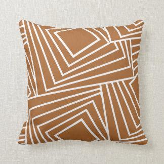 Sleek geometric pattern in deep brown cushion