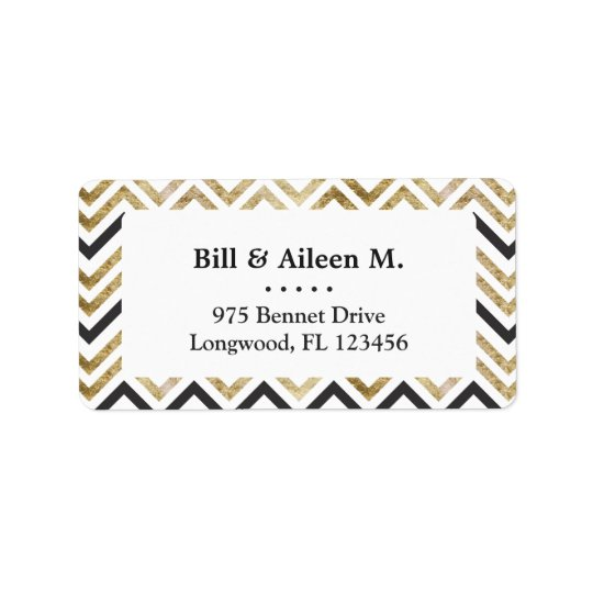 Sleek golden glitter black chevron pattern label