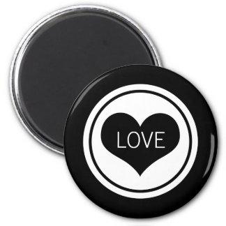Sleek Heart Magnet, Black and White 6 Cm Round Magnet