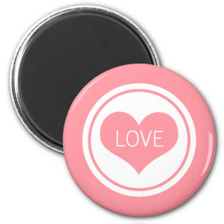 Sleek Heart Magnet, Pink 6 Cm Round Magnet