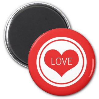 Sleek Heart Magnet, Red 6 Cm Round Magnet