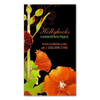 Sleek Hollyhocks Floral Magnetic Business Cards