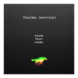 Sleek Horse Racing 13 Cm X 13 Cm Square Invitation Card