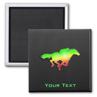 Sleek Horse Racing Square Magnet