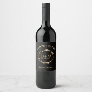 Sleek Modern Brass Swish Frame Wedding Wine Label