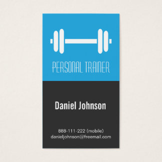 Sleek Modern Fitness Personal Trainer Weights Business Card