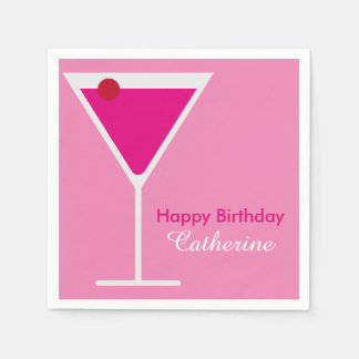 Sleek Modern Pink Martini Custom Birthday Paper Napkin