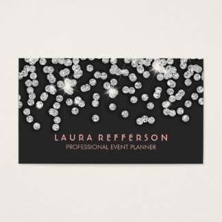 Sleek Modern Silver Diamonds Business Card