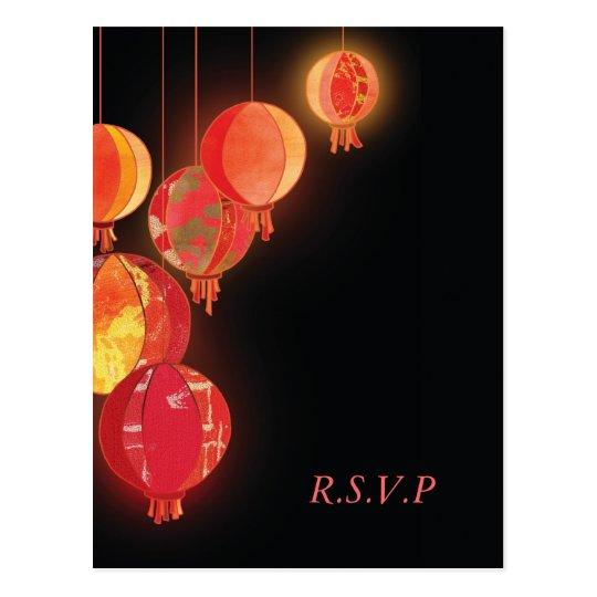 Sleek Red Paper Lanterns Wedding RSVP Postcard